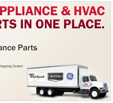 Jacksonville Appliance parts is your #1 source for refrigerator parts, range and oven parts, washing machine parts, dryer parts and microwave parts. Call our Parts Counter to order the parts you need.